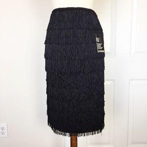 New Express Black Fringes Midi Skirt